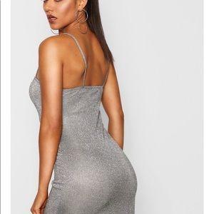 Boohoo Metallic Glitter Square Neck Strappy Dress